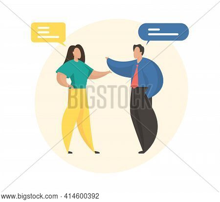 Business Discussion Concept Illustration. Female And Male Cartoon Characters Communicate Talking To