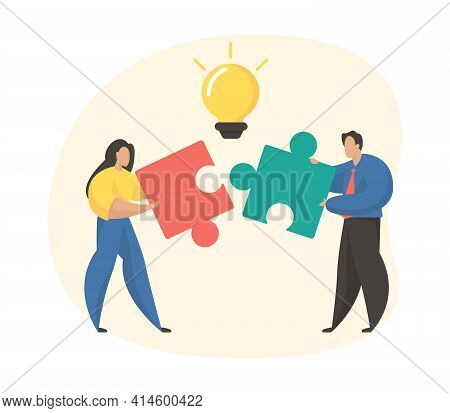 Business Collaboration Concept. Teamwork, Cooperation, Partnership, Brainstorm Metaphor. Female And