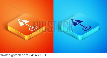 Isometric Exclamation Mark In Triangle Icon Isolated On Orange And Blue Background. Hazard Warning S