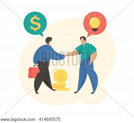 Investing Money In Startup. Male Cartoon Character Sponsor Investing Money In Startup. Financial Sup