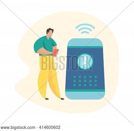 Wireless Virtual Assistant. Male Cartoon Character Standing Near Smart Speaker. Smart Speaker Apps D