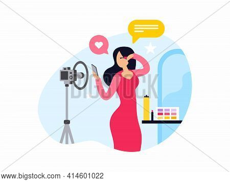 Female Cartoon Character Beauty Blogger Applying Makeup. Woman Doing Makeup And Recording Video. Cos