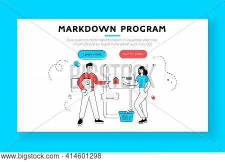Markdown Program Banner Template. Vector Illustration Of Linear Man With Credit Card And Woman With