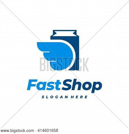Fast Shop Logo Designs Concept Vector, Wing And Shopping Bag Logo