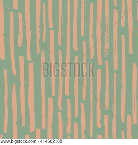 Linear Geometric Broken Stripe Seamless Vector Pattern Background. Varied Mix Of Pastel Ochre Coarse