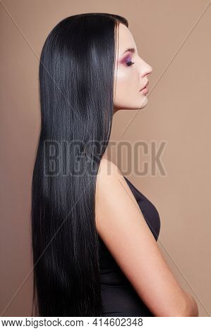 Perfect Straight Long Hair Woman, Lamination And Straightening Hair. Strong Black Hair Roots. Profil