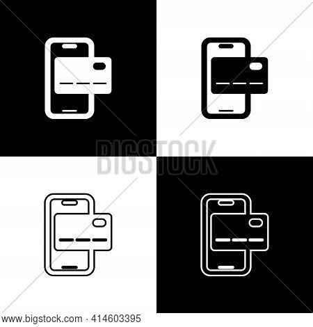 Set Mobile Banking Icon Isolated On Black And White Background. Transfer Money Through Mobile Bankin