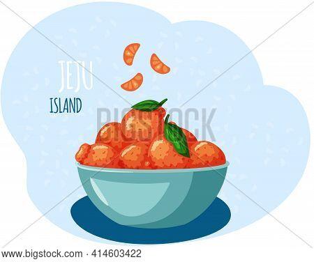 Mandarins Plucked With Twig And Leaves, Grown In Jeju Island In South Korea. Orange Tangerines