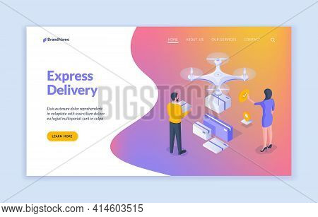 Express Delivery Landing Page Banner Template. Vector Illustration Of Isometric People Sending And R