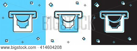 Set Atm - Automated Teller Machine And Money Icon Isolated On Blue And White, Black Background. Vect
