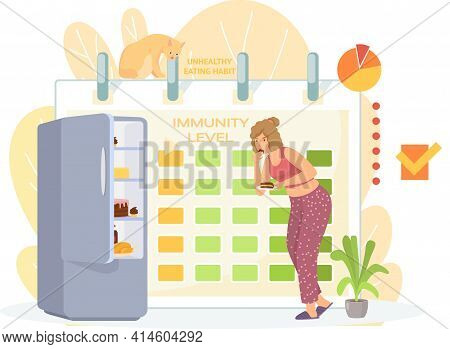 Woman Eats Cake From Refrigerator. Female Character Is Stealing Pie On Sly. Unhealthy Eating Habit