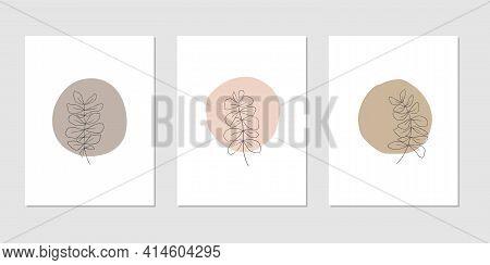 Abstract Trendy Botanical Vector Illustration Set. Contemporary Art, Modern Print, Floral Wall Art,