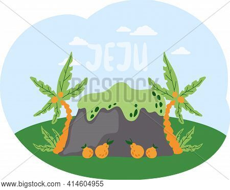 Hill With Palms And Tangerines On Island. Nature Landscape Of Jeju In Korea Vector Illustration