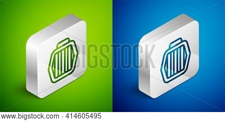 Isometric Line Pet Carry Case Icon Isolated On Green And Blue Background. Carrier For Animals, Dog A