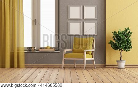 Gray And Yellow Room With Armchair And Large Window - 3d Rendering
