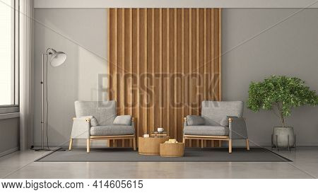 Minimalist Living Room With Two Armchairs Against Wooden Panel,coffee Table And Floor Lamp - 3d Rend