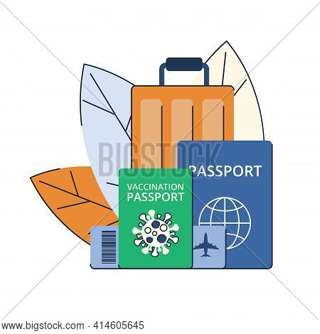 New Travels After The Pandemic. Green Vaccination Passport. Travel Permit. Vector