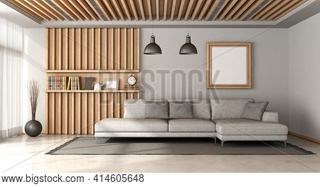 Stylish Scandinavian Style Living Room With Large Gray Sofa And Wooden Panel With Shelf On Backgroun