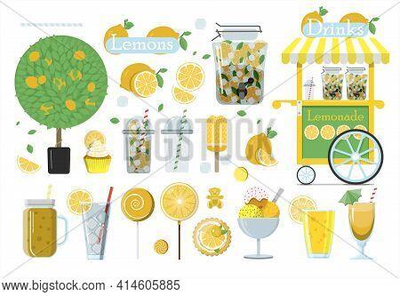 Big Vector Lemonade Set. Flat Illustration Of Glasses Of Lemonade, Lemons Cut And Whole, Lemon Tree,
