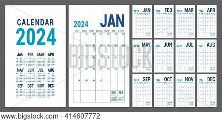 Planner 2024 Year. English Blue Calendar Template. Vector Grid. Office Business Planning. Creative D