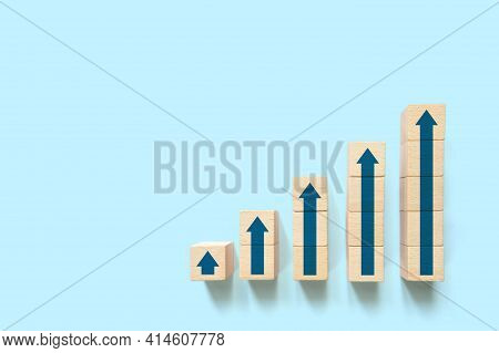 Ladder Graph Career Path For Business Growth Success Process Concept. Wood Block Stacking Step Up In