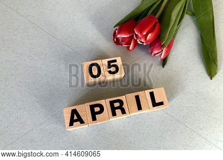 April 5 On Cubes Of Wood On A Gray-blue Background.spring.calendar For April.