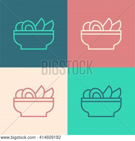 Pop Art Line Nachos In Plate Icon Isolated On Color Background. Tortilla Chips Or Nachos Tortillas.