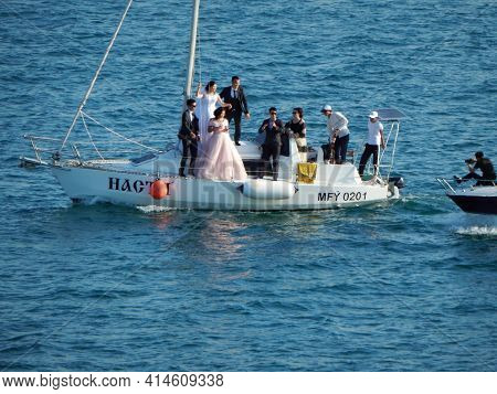 Kazakhstan. Aktau. July 21, 2019 Year. Caspian Sea. Wedding Walk On A Yacht.