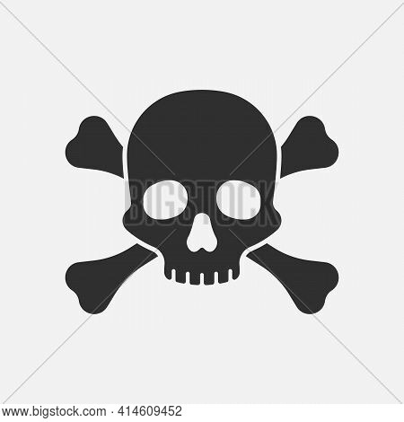 Skull With Bones Isolated On White Background. Vector Illustration.