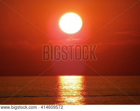 Sunset Over The Caspian Sea. 23 August. 2019 Year. Mangistau Region.