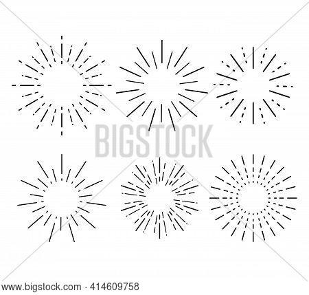 Sunburst Set. Collection Sunburst, Star, Firework Explosion. Vector Illustration.