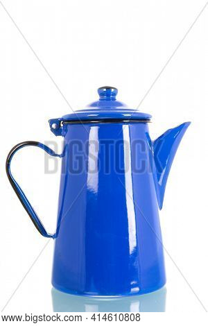 Vintage enamel blue coffee pot isolated over white background