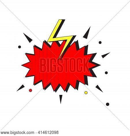 Comic Speech Bubble Burst With Thunderbolt. Pop Art Retro Style Empty Label