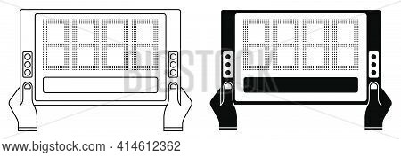 Sports Match Referee Hand Showing Electronic Scoreboard For Player Substitution. Sports Team Game Of