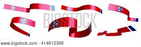 Set Of Holiday Ribbons. Flag Of American State Of Tennessee Waving In Wind. Separation Into Lower An