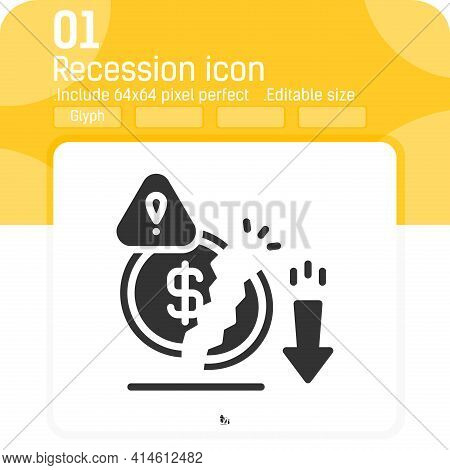 Decrease Money Icon With Solid Glyph Style Isolated On White Background. Graphics Illustration Reces