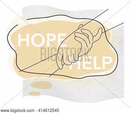 Help And Hope Drawn Concept, Benevolence Charity Illustration With Helping Hands