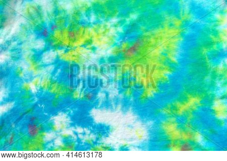 Tie Dye Pattern Abstract Background. Tie Dyed Pattern On Cotton Fabric For Background.