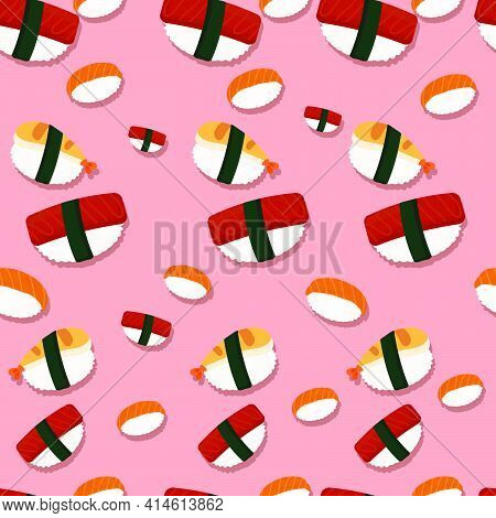 This Background Vector Talks About The Most Famous Japanese Food, Sushi, The Condiments, The Essenti