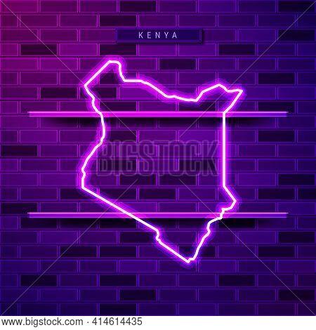 Kenya Map Glowing Neon Lamp Sign. Realistic Vector Illustration. Country Name Plate. Purple Brick Wa