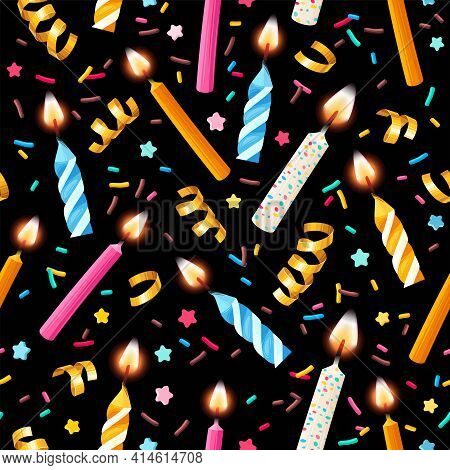 Vector Seamless Pattern With Candles And Sprinkles