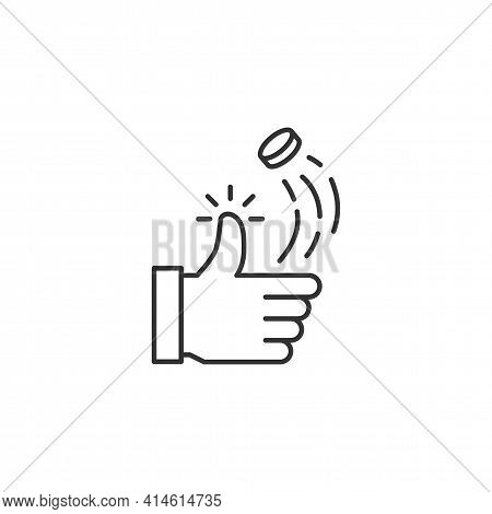 Coin Toss Related Vector Line Icon. Sign Isolated On The White Background. Editable Stroke Eps File.