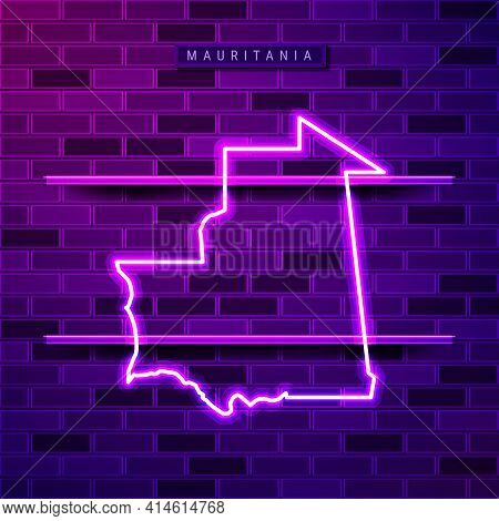 Mauritania Map Glowing Neon Lamp Sign. Realistic Vector Illustration. Country Name Plate. Purple Bri