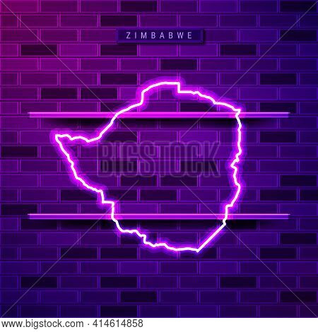 Zimbabwe Map Glowing Neon Lamp Sign. Realistic Vector Illustration. Country Name Plate. Purple Brick