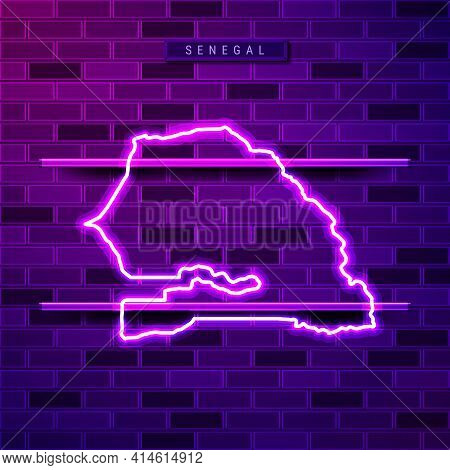 Senegal Map Glowing Neon Lamp Sign. Realistic Vector Illustration. Country Name Plate. Purple Brick