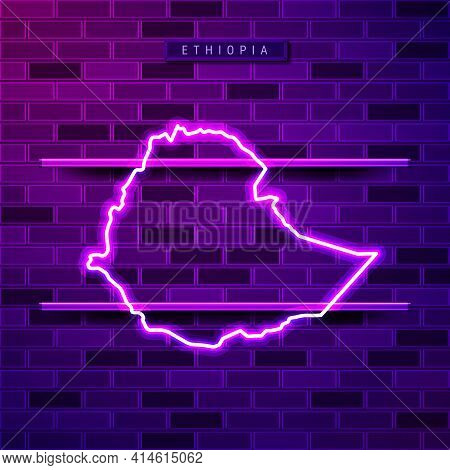 Ethiopia Map Glowing Neon Lamp Sign. Realistic Vector Illustration. Country Name Plate. Purple Brick