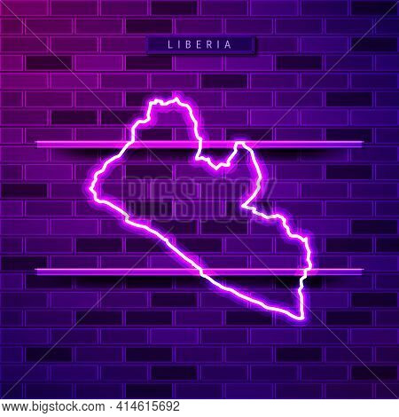 Liberia Map Glowing Neon Lamp Sign. Realistic Vector Illustration. Country Name Plate. Purple Brick