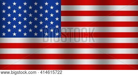 American Flag With Wave. Usa Waving Background. Banner Of United States Of America. American Nationa
