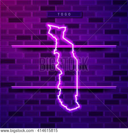 Togo Map Glowing Neon Lamp Sign. Realistic Vector Illustration. Country Name Plate. Purple Brick Wal