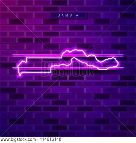 Gambia Map Glowing Neon Lamp Sign. Realistic Vector Illustration. Country Name Plate. Purple Brick W